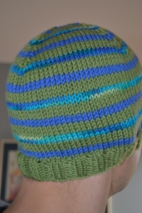 Green and blue striped sailor hat