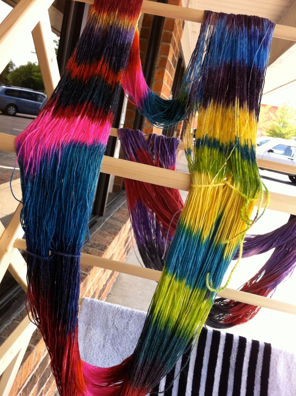 The sample skein with all of the colors